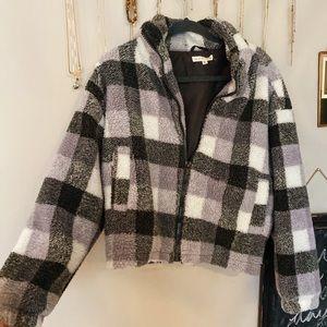 Trendy flannel Sherpa jacket